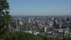 Zoom out, Jacques Cartier Bridge, Montreal skyline, Canada Stock Footage