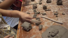 Ceramic children workshop,family craft day Stock Footage