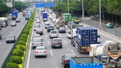 Heavy traffic section 107 State Road, Baoan Shenzhen, China Stock Footage