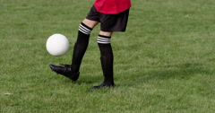 A young boy practices his soccer skills. Shot in slow motion on RED Epic. Stock Footage