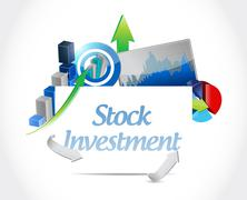 Stock Illustration of Stock Investment board sign concept