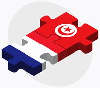 France and Tunisia Flags Stock Illustration