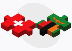 Switzerland and Zambia Flags Stock Illustration