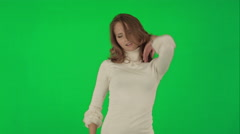 Beautiful woman dances on a Green Screen Chrome Key - stock footage