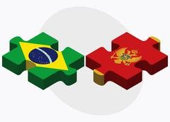 Stock Illustration of Brazil and Montenegro Flags