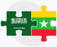 Saudi Arabia and Myanmar Flags - stock illustration