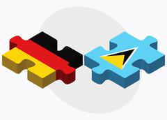Germany and Saint Lucia Flags - stock illustration