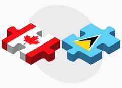 Canada and Saint Lucia Flags - stock illustration