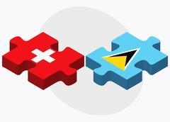 Switzerland and Saint Lucia Flags - stock illustration