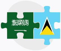 Saudi Arabia and Saint Lucia Flags - stock illustration