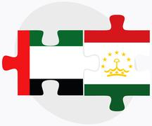 United Arab Emirates and Tajikistan Flags - stock illustration