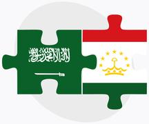 Saudi Arabia and Tajikistan Flags - stock illustration