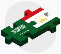 Saudi Arabia and Tajikistan Flags Stock Illustration
