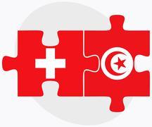 Switzerland and Tunisia Flags Stock Illustration