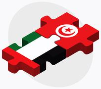 United Arab Emirates and Tunisia Flags - stock illustration