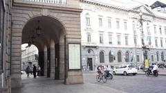 View of Piazza della Scala square Stock Footage