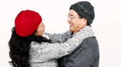 Stock Video Footage of Mature Asian couple hugging and talking