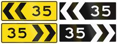 A collection of New Zealand road signs - Chevron with advisory speed Stock Illustration