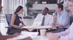 4K Business group in negotiation meeting shake hands on a deal. Stock Footage