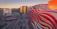 Aerial view Petersen Automotive Museum featuring new futuristic exterior design Stock Footage