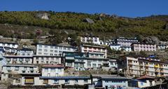Traditional houses of Namche Bazaar village, capital of sherpa people ,Nepal - stock photo