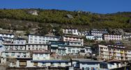 Stock Photo of Traditional houses of Namche Bazaar village, capital of sherpa people ,Nepal