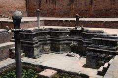 Carving decorations depicting hindu mythology in water reservoirs,Kathmandu - stock photo