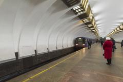 Nizhny Novgorod, RUSSIA - 02.11.2015. The train arrives at station Metro - stock photo