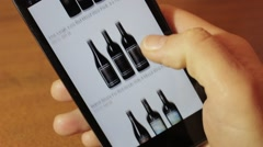 Red Wine. Online shopping With Smartphone - stock footage