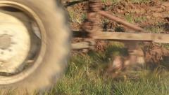 Plowing soil Stock Footage