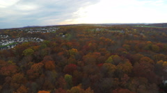 Aerial Autumn Neighborhood with Forest Trees Sunset Blue Skies, 4K Stock Footage