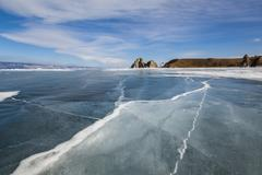 Sunny winter day at Baikal Lake - stock photo
