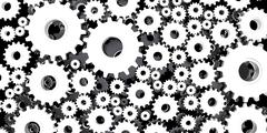 silver and black mechanical 3D manufacturing, metal gears cog cogs black back - stock illustration