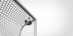 Soccer ball going into the top of the corner of the goal football Stock Illustration