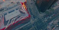 erial view of Wilshire Blvd and Fairfax Ave intersection at sunset. 4K UHD. - stock footage