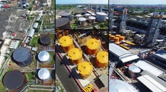 Aerial view compilation of oil plant in Indonesia. Yellow and black tanks - stock footage