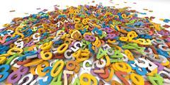 3D multi colour pile of alphabet letters on white background - stock illustration