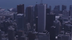 Aerial skyscrapers with lake in background Stock Footage