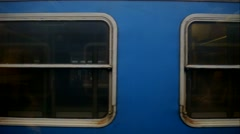 Horizontal movement from train window, windows passing by loopable - stock footage