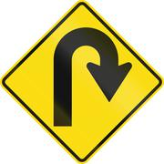 New Zealand road sign - Curve greater than 120 degrees to right - stock illustration