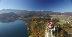 Aerial view of Bled Castle and Bled lake landscape with mountain Stock Footage