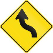 New Zealand road sign - Reverse curve less than 60 degrees, to left Stock Illustration