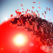 Stock Illustration of Red 3D ball exploded into pieces
