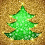 Stock Illustration of Christmas tree card with glitter