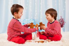 Two happy children eating cookies at christmas and drinking milk - stock photo