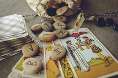 Runes and tarot cards Stock Photos