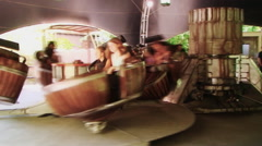 Holiday park. Germany. Ppeople ride on the carousel Stock Footage