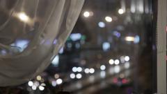 Night city on light boke Stock Footage