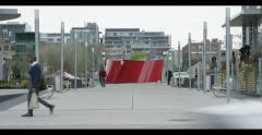 Artsy sculpture outside condo buildings - stock footage