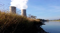 Nuclear power plant on the river - stock footage